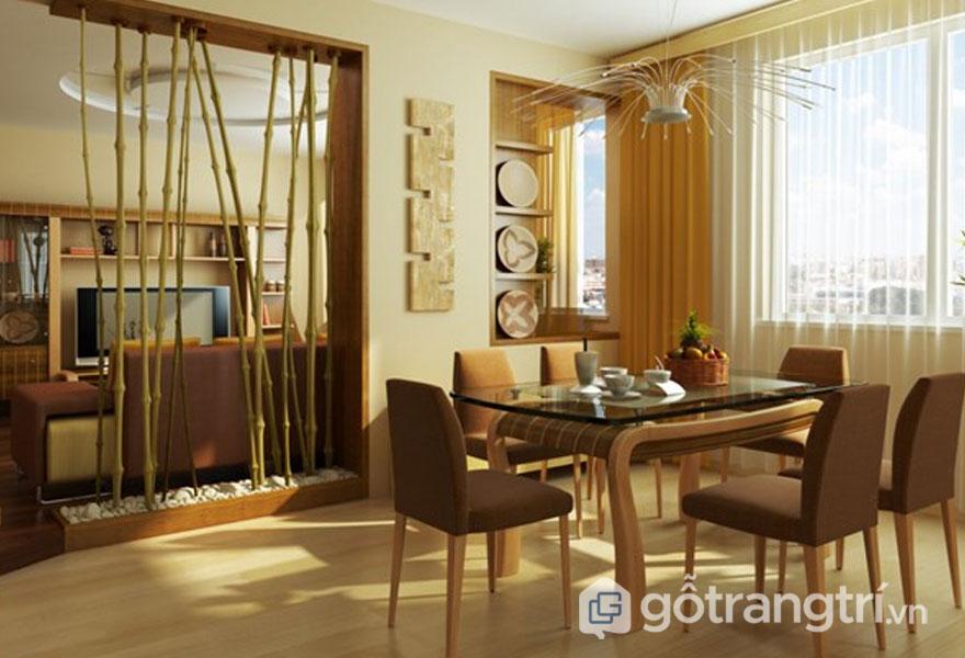 Phong cách zen trong thiết kế nội thất luôn xuất hiện vách ngăn (Ảnh: Internet)