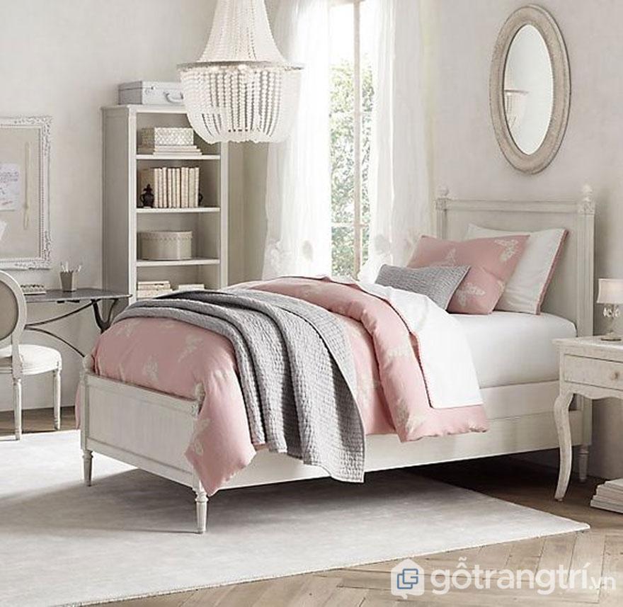 Phòng ngủ nổi bật với gam màu hồng nhẹ (Ảnh: Internet)