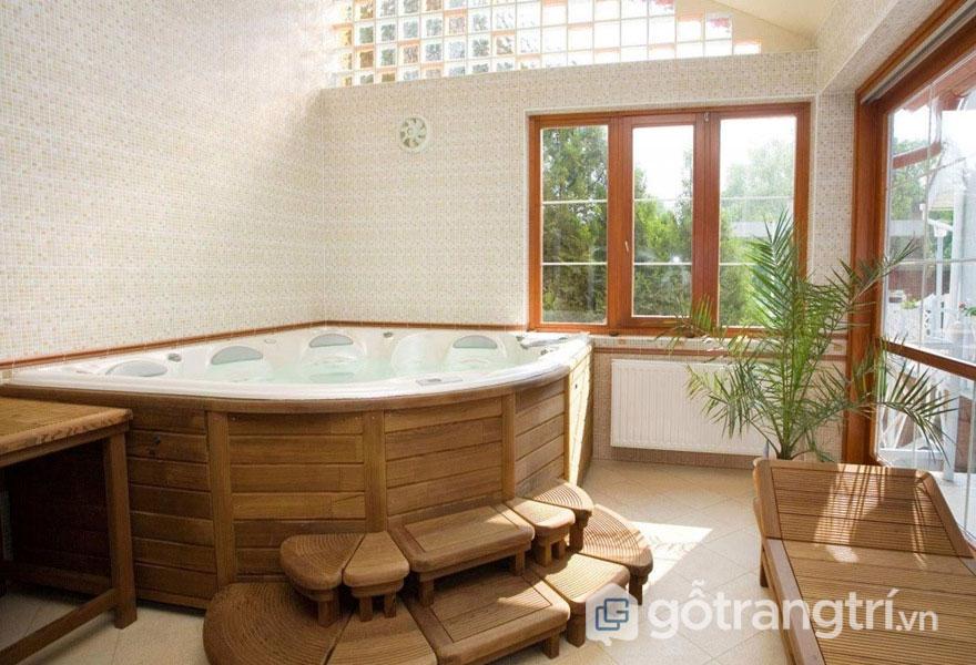 Phòng tắm Nhật Bản luôn sử dụng gam màu trung tính (Ảnh: Internet)