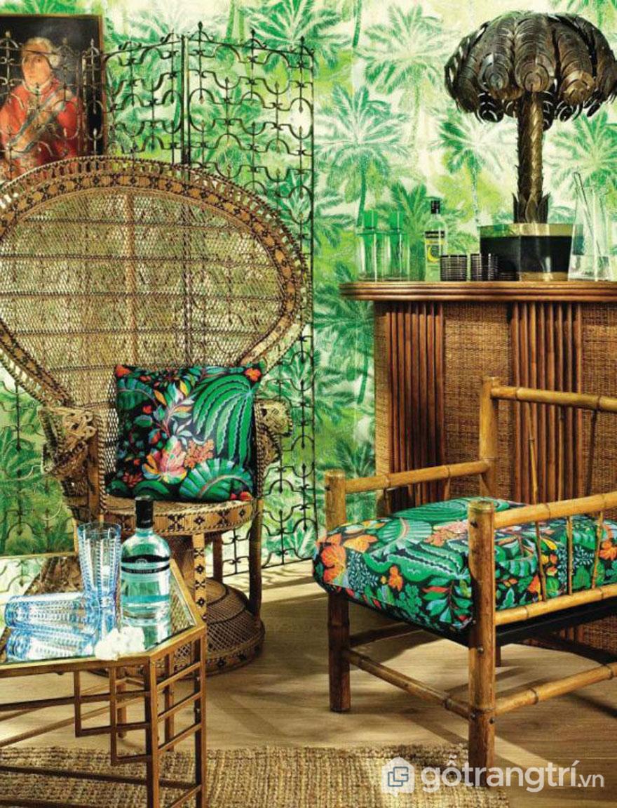 Không gian vô cùng nổi bật với nội thất từ tre gỗ và họa tiết trang trí bắt mắt (Ảnh: Internet)