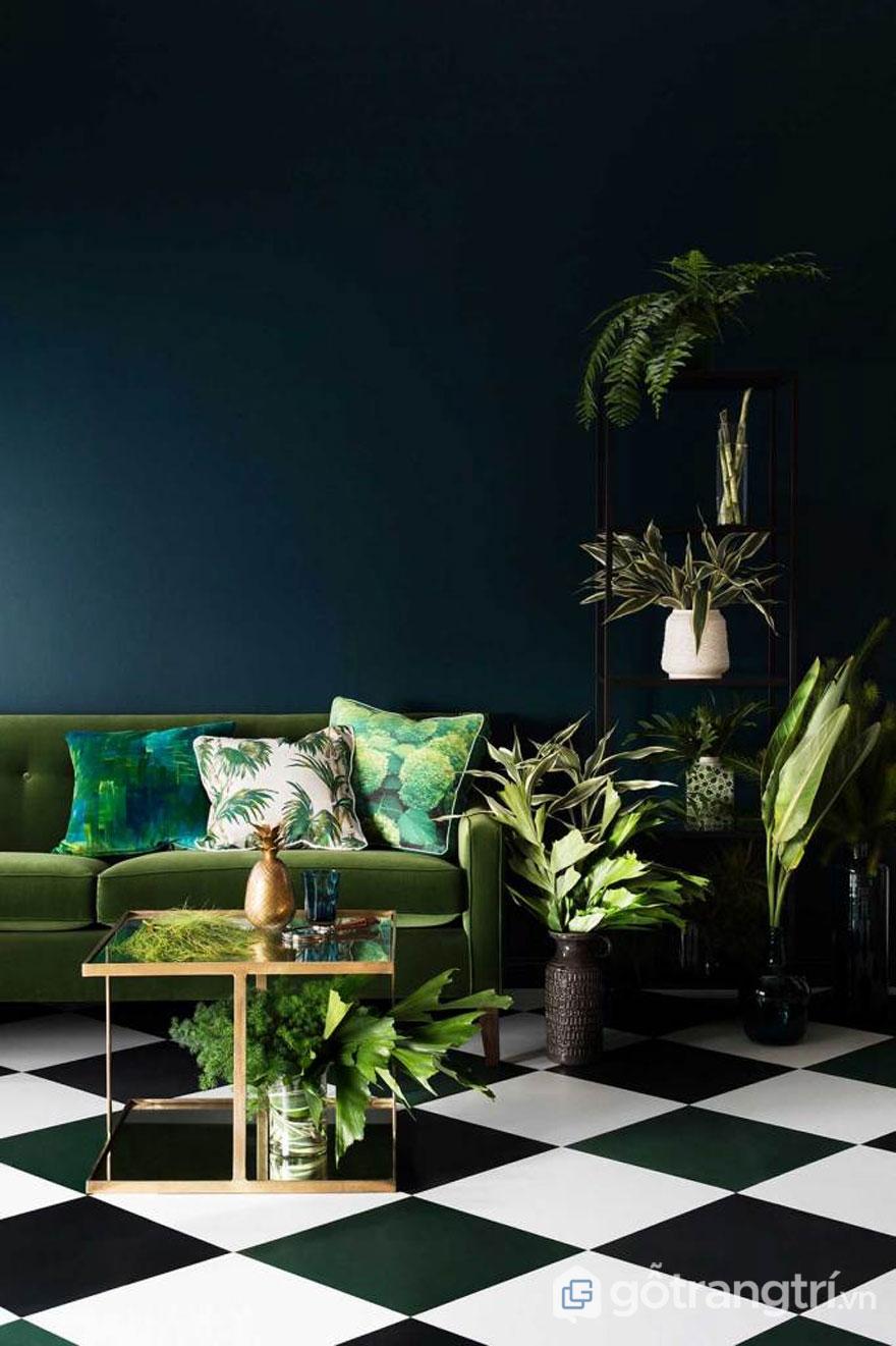 """Sử dụng gam màu xanh lá cây luôn tạo được những sắc độ khác nhau, và tạo được nét đẹp """"nhiệt đới"""" quyến rũ cho căn phòng (Ảnh: Internet)"""