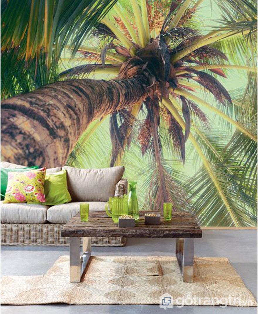 Bức tường nhà được trang trí hình ảnh cây dừa với sắc xanh lá cây (Ảnh: Internet)