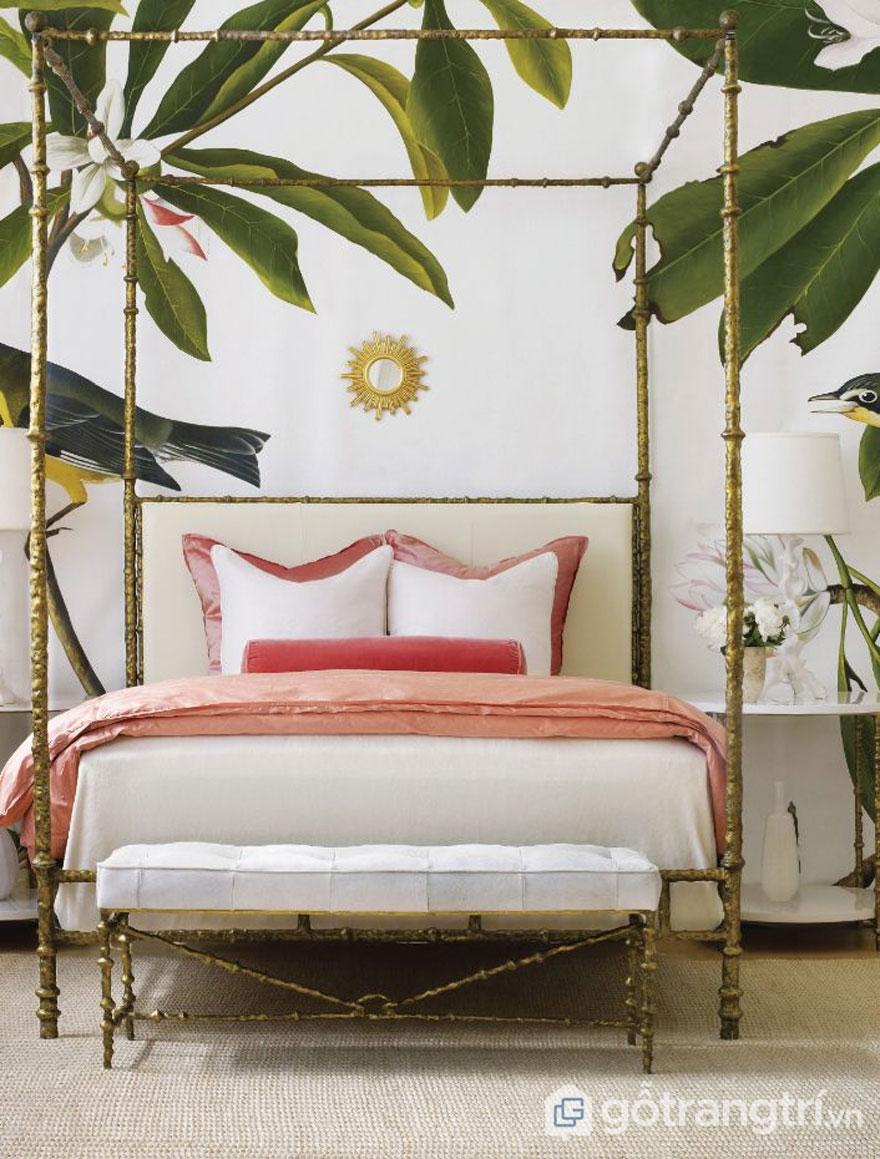 Cây cối và chim muông không thể thiếu trong căn phòng ngủ nhiệt đới (Ảnh: Internet)