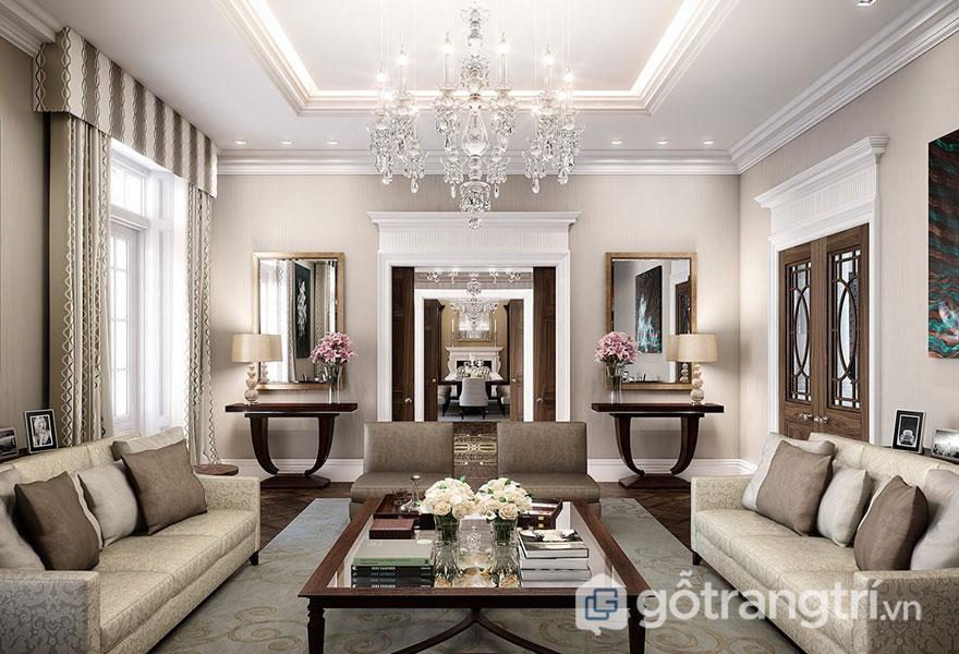 Phòng khách nổi bật với đường nét mạnh mẽ, dứt khoát, thảm trải sàn họa tiết (Ảnh: Internet)