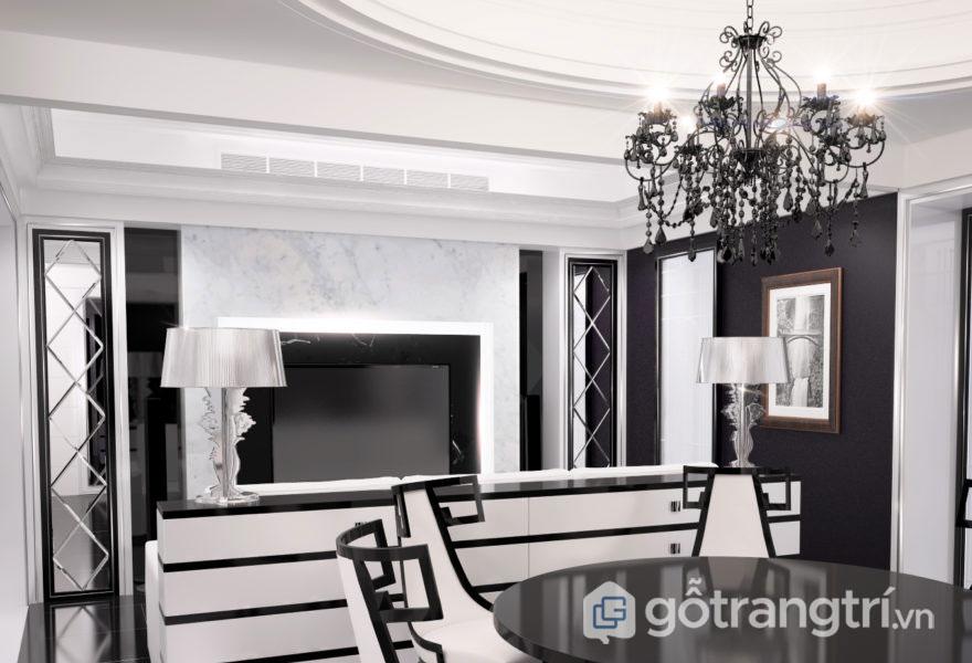 Phòng ăn với 2 gam màu trắng và đường kẻ đen khá mềm mại, thanh thoát (Ảnh: Internet)
