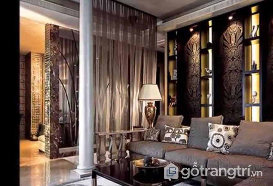 Phòng khách trầm ấm với tông màu dịu nhẹ (Ảnh: Internet)