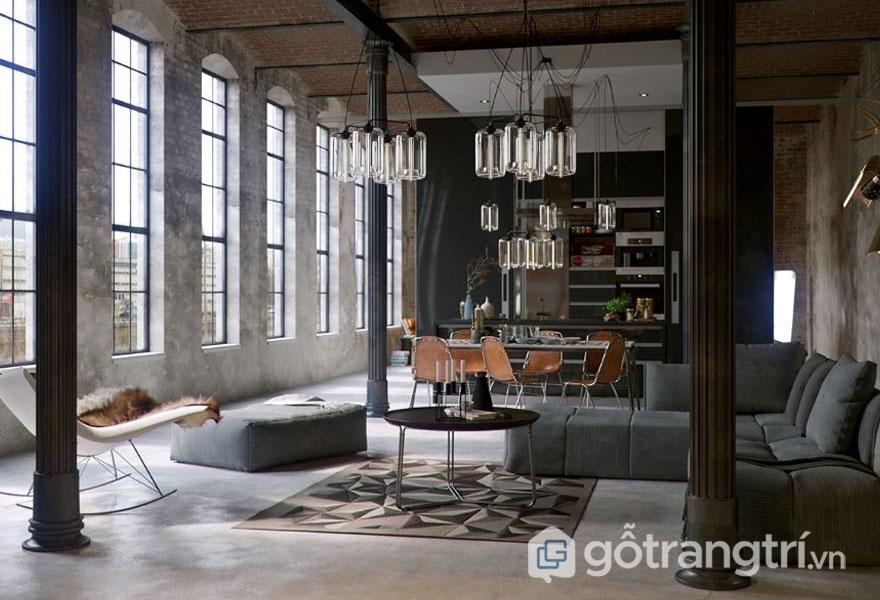 Phòng khách theo phong cách công nghiệp (Ảnh: Internet)