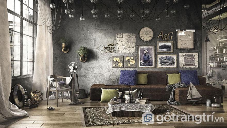 Phòng khách lạ lẫm được áp dụng theo phong cách công nghiệp (Ảnh: Internet)