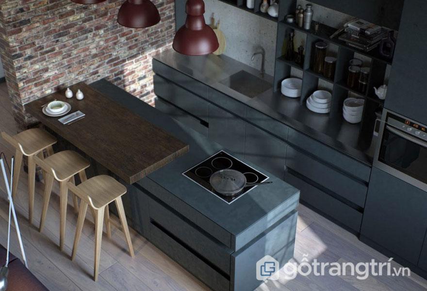 Phòng bếp công nghiệp nổi bật với gam màu xám và nền gạch trần trơ trụi (Ảnh: Internet)