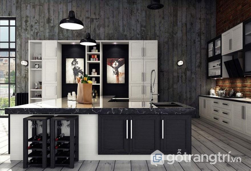 Sử dụng cặp màu tương phản giữa đen và trắng đã tạo sự thoáng đạt cho căn bếp công nghiệp này (Ảnh: Internet)