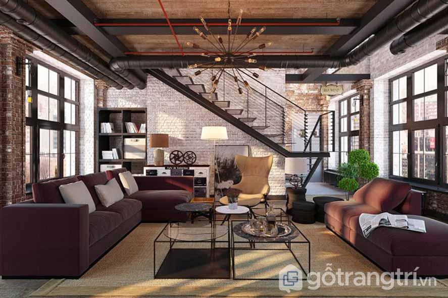 Ghế sofa màu nâu, với bức tường gạch thô mộc là những gì phong cách nội thất công nghiệp hướng đến (Ảnh: Internet)