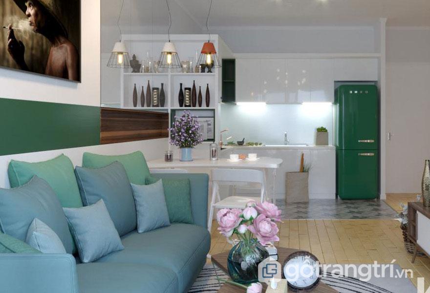 Thiết kế nội thất hay sử dụng những hình khối, màu sắc, không gian để tạo độ bóng bẩy, mới mẻ hơn (Ảnh: Internet)