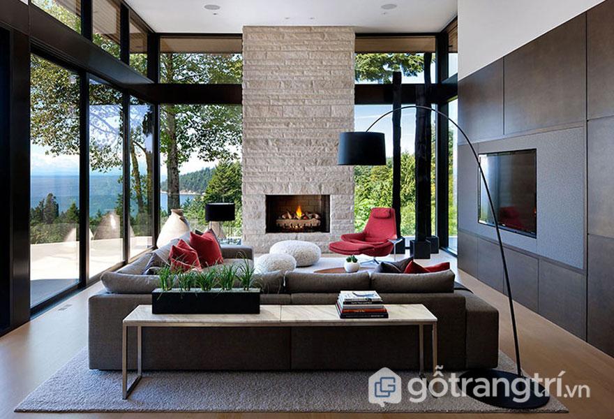 Khi tường nhà là gam màu trung tính thì đồ nội thất sẽ sử dụng với sofa mà đỏ, và ghế ngồi màu trắng sáng (Ảnh: Internet)