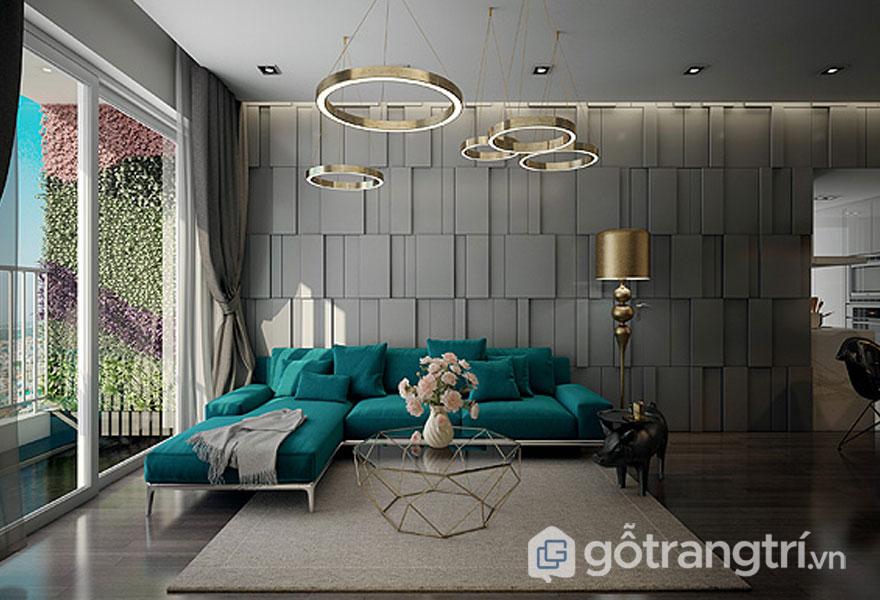 Sofa ghế ngồi màu xanh, và đồ trang trí bằng kim loại bóng sáng khá sang trọng (Ảnh: Internet)