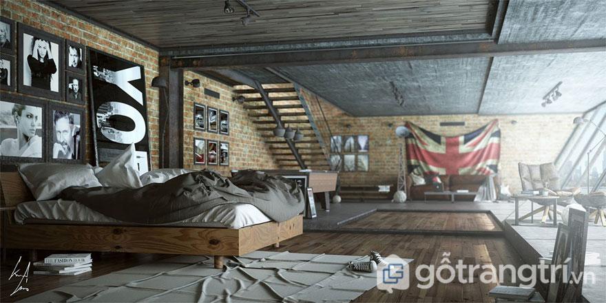 Phong cách công nghiệp trong thiết kế phòng ngủ (Ảnh: Internet)