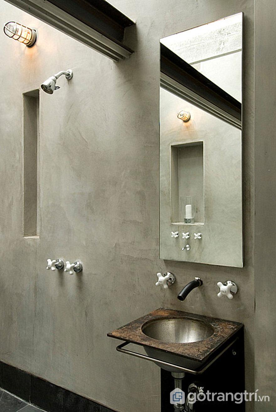 Màu xám được trang trí tường phòng tắm (Ảnh: Internet)
