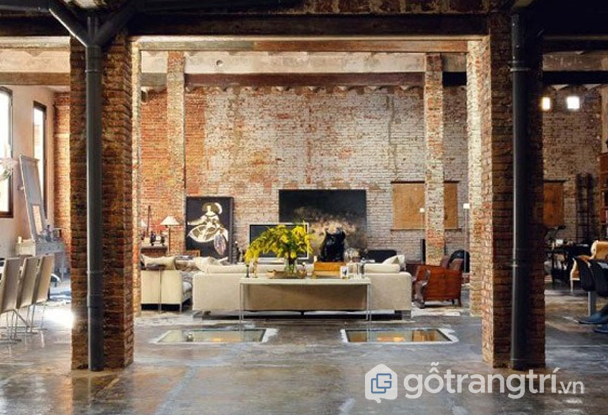 Sự nhem nhuốc của phong cách thiết kế công nghiệp được thể hiện rõ nét qua tường gạch và sàn bê tông (Ảnh: Internet)