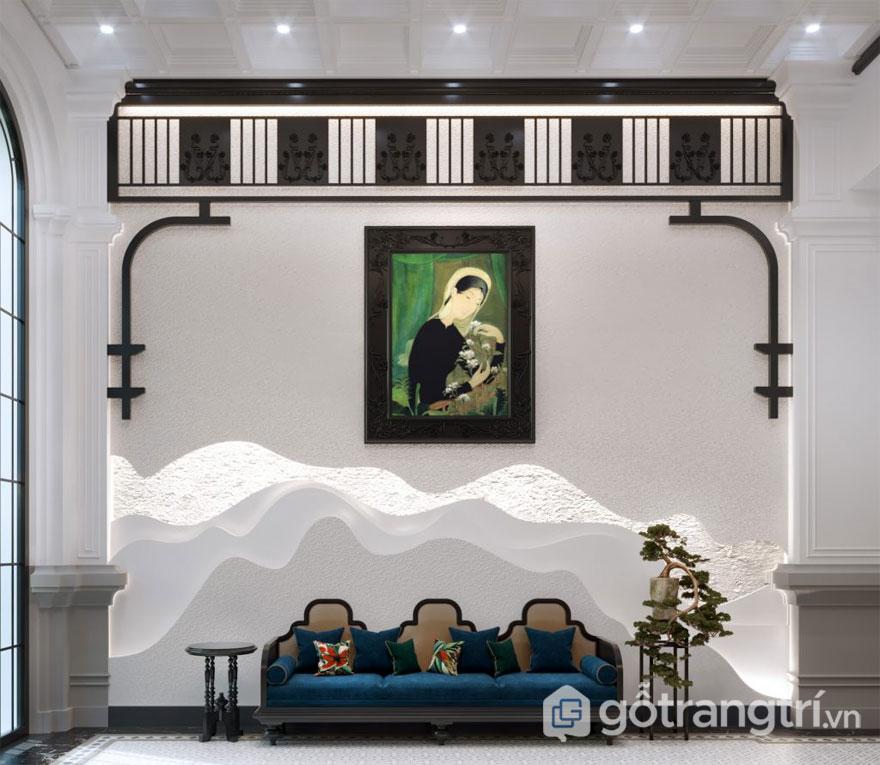 Phong cách nội thất Đông Dương thiết kế khá đơn giản tại sảnh chờ khách sạn (Ảnh: Internet)