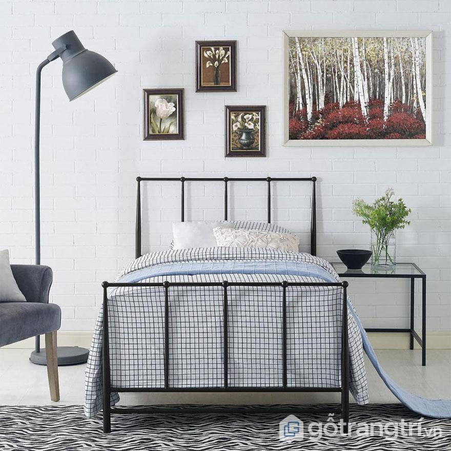 Phòng ngủ Rustic kết hợp màu sắc trang nhã, nội thất hình khối đơn giản (Ảnh: Internet)