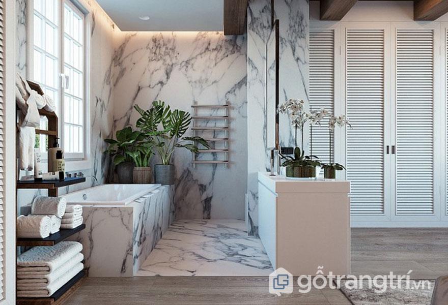 Đá ốp tường, lát sàn phòng tắm (Ảnh: Internet)