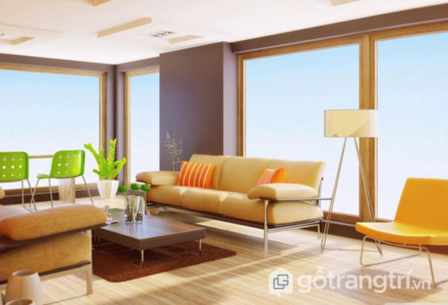 Phòng khách với gam màu táo bạo trên đồ nội thất (Ảnh: internet)