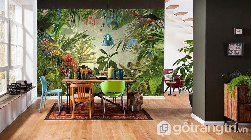Phòng ăn được bài trí theo phong cách nhiệt đới đậm chất xanh (Ảnh: Internet)