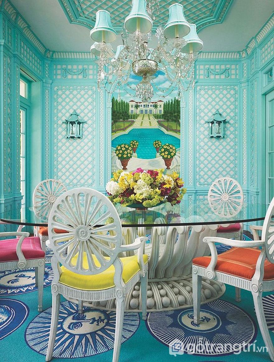 Phòng ăn nhiệt đới ngập tràn sắc xanh lam trẻ trung (Ảnh: Internet)