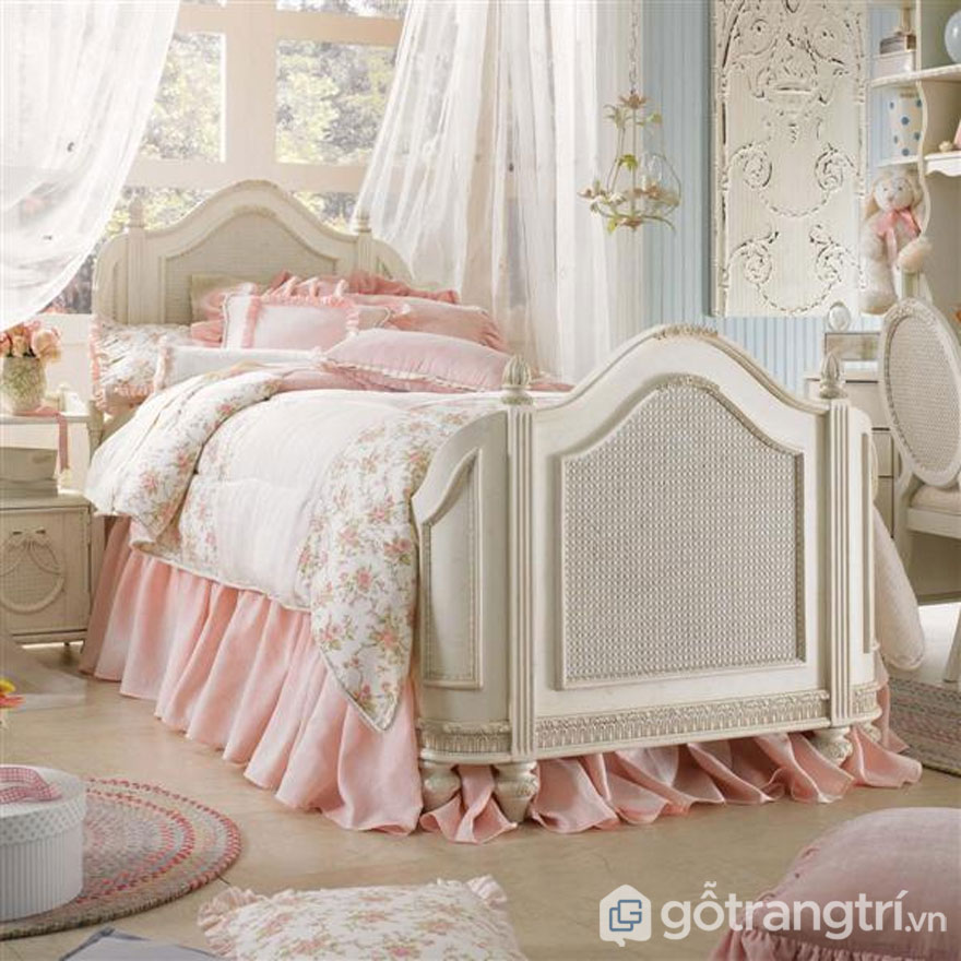 Phòng ngủ vintage với gam màu hồng quyến rũ (Ảnh: Internet)