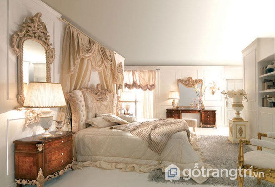Phòng ngủ vintage với nội thất trang trí đậm chất cổ điển (Ảnh: Internet)