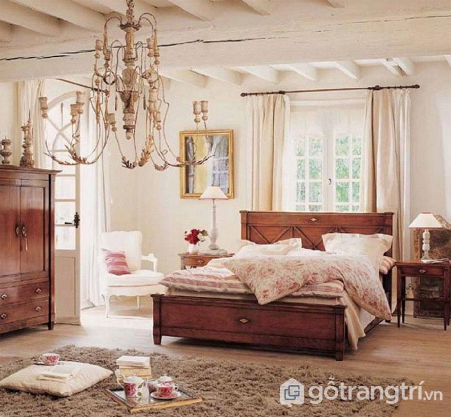 Phòng ngủ vintage thiết kế khá là thoáng đạt, nhẹ nhàng (Ảnh: Internet)