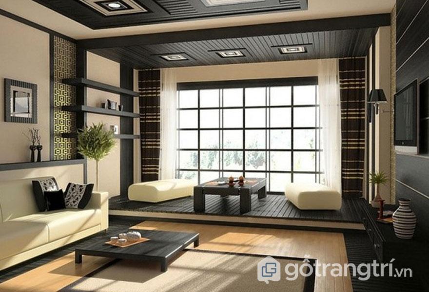 Căn phòng khách này nổi bật với sắc đen, màu kem khá thoáng rộng (Ảnh: Internet)