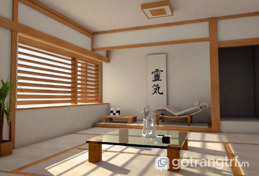Những thanh lam gỗ thiết màu nâu vàng nổi bật trên nền tường trắng (Ảnh: Internet)