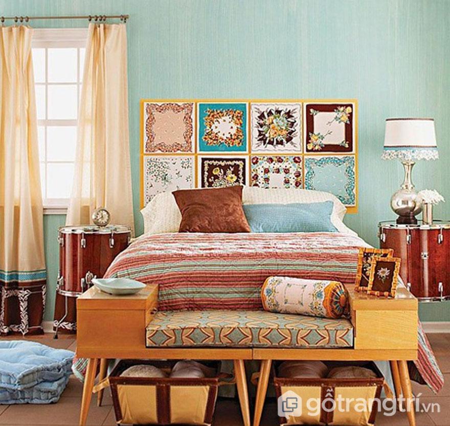 Phòng ngủ retro sự pha trọn giữa nhiều sắc màu nổi bật (Ảnh: Internet)