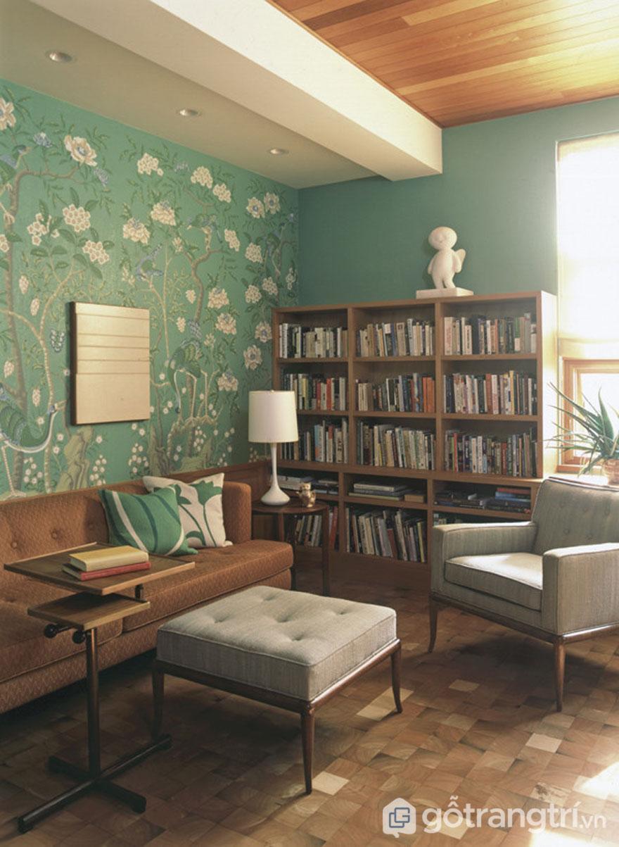 Giấy dán tường họa tiết màu xanh non đặc trưng trong phong cách nội thất retro (Ảnh: Internet)