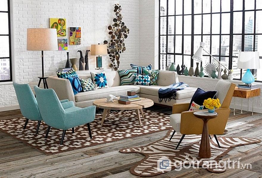 Phong cách nội thất retro trong căn phòng khách này được bài trí nội thất khá nhẹ nhàng, thanh thoát (Ảnh: Internet)