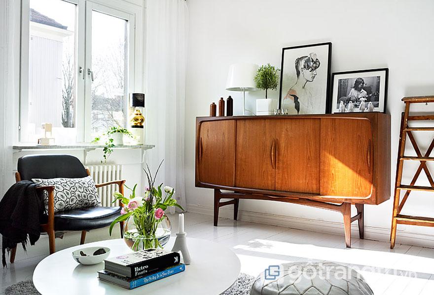 Phòng khách theo phong cách retro (Ảnh: Internet)