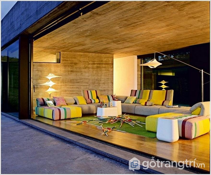 Phong cách retro trong thiết kế nội thất không thể thiếu yếu tố họa tiết (Ảnh: Internet)