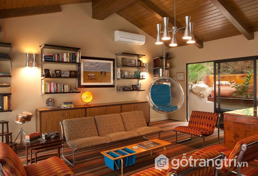 Phòng khách theo phòng cách retro style có màu sắc tươi mới (Ảnh: Internet)