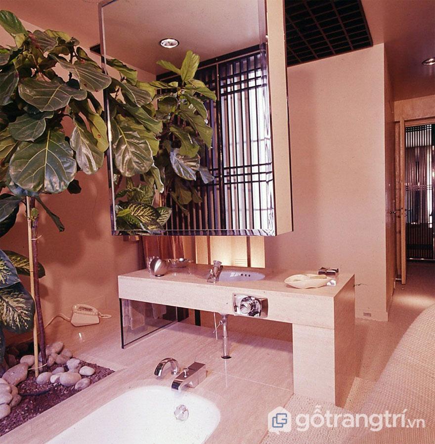 Cây xanh được bài trí trong không gian phòng tắm (Ảnh: Internet)