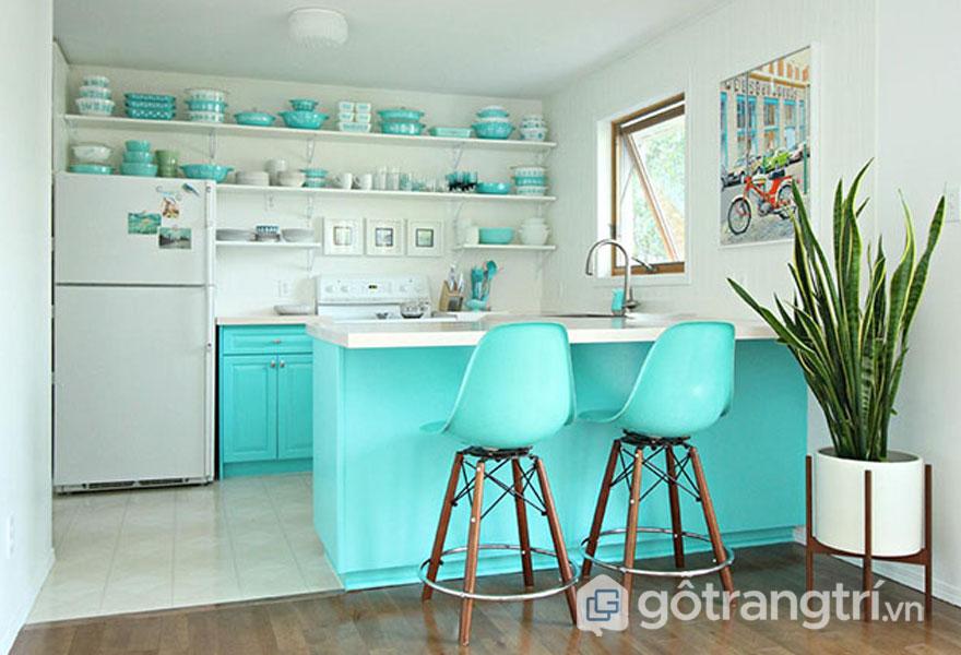 Màu bạc hà mang sắc sự tươi mới cho phòng bếp phong cách retro style (Ảnh: Internet)