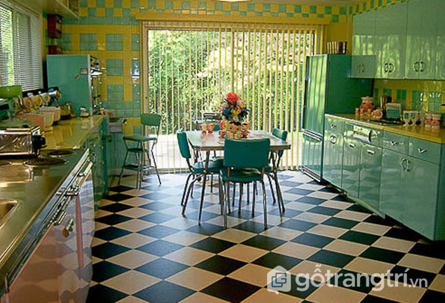 Phòng bếp retro là sự họa trộn của nhiều gam màu sắc (Ảnh: Internet)
