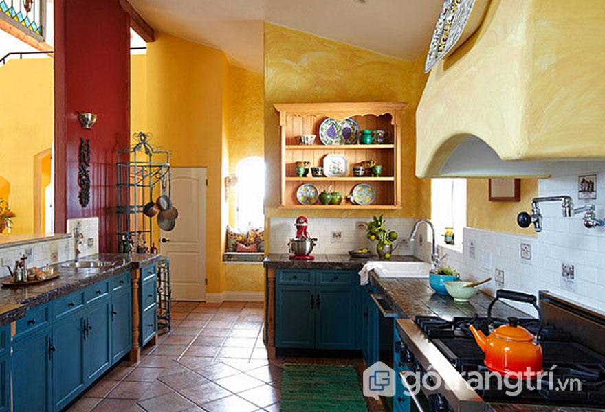 Căn bếp được sơn màu vàng làm nổi bật căn bếp retro (Ảnh: Internet)
