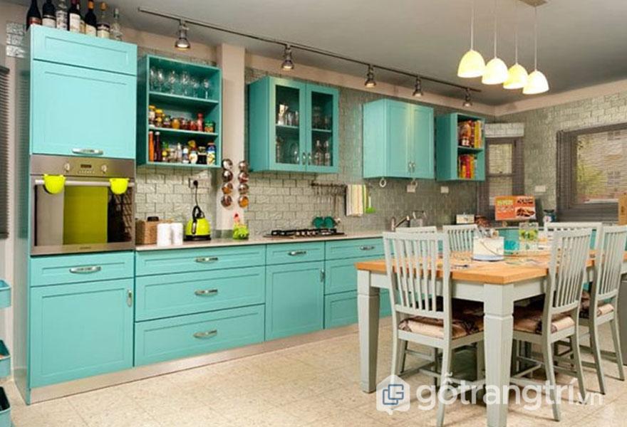 Phòng bếp retro màu xanh bạc hà tươi mát (Ảnh: Internet)