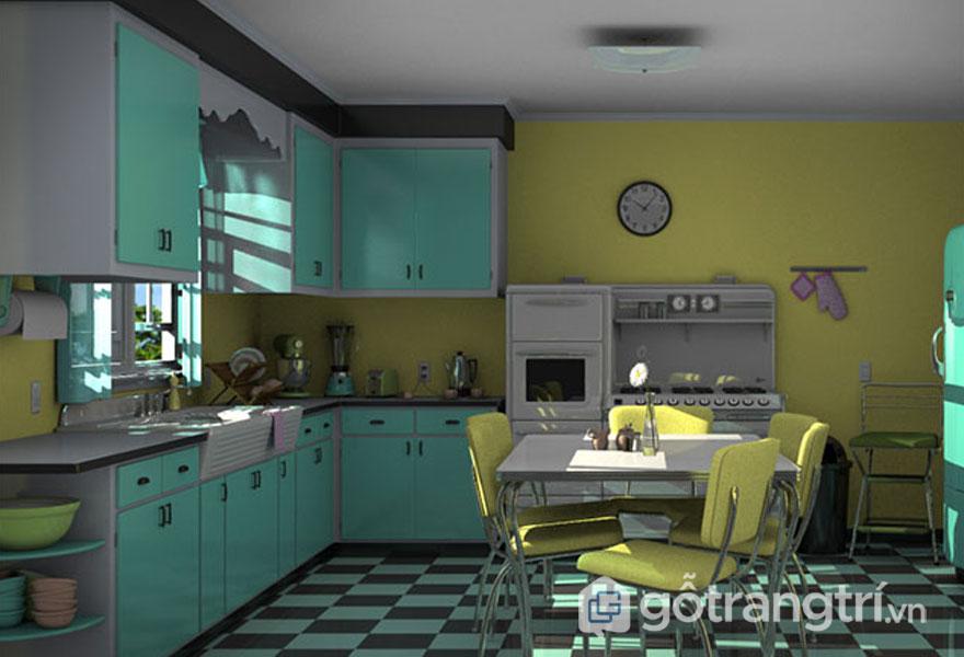Phòng bếp retro màu xanh bạc hà kết hợp với màu vàng tươi (Ảnh: Internet)