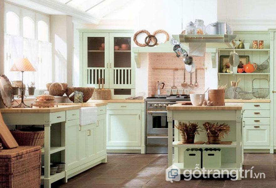 Phòng bếp retro tủ bếp xanh nhẹ nhàng nội thất bếp gọn gàng (Ảnh: Internet)