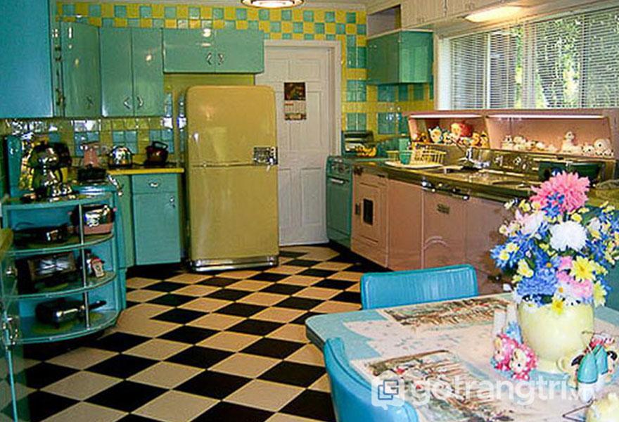 Xanh và xanh chính là tông màu chủ đạo của căn bếp retro (Ảnh: Internet)