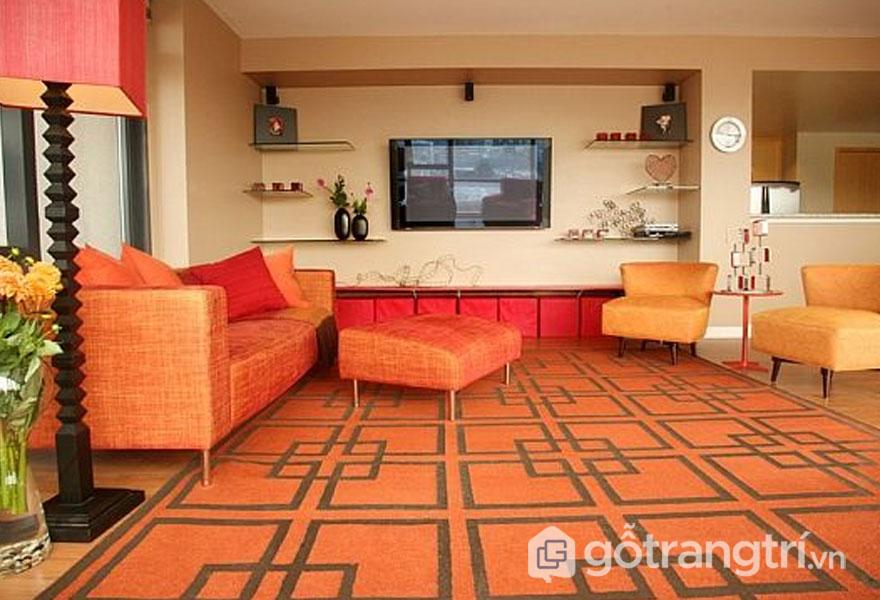 Phòng khách phong cách retro style với thảm trải sàn họa tiết đẹp (Ảnh: Internet)