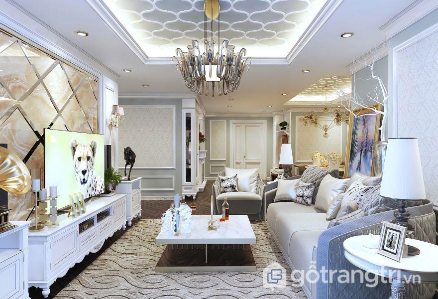 Thiết kế nội thất tân cổ điển ưu ái về dòng chất liệu gỗ tự nhiên, đá hoa cương, chất liệu da (Ảnh: Internet)