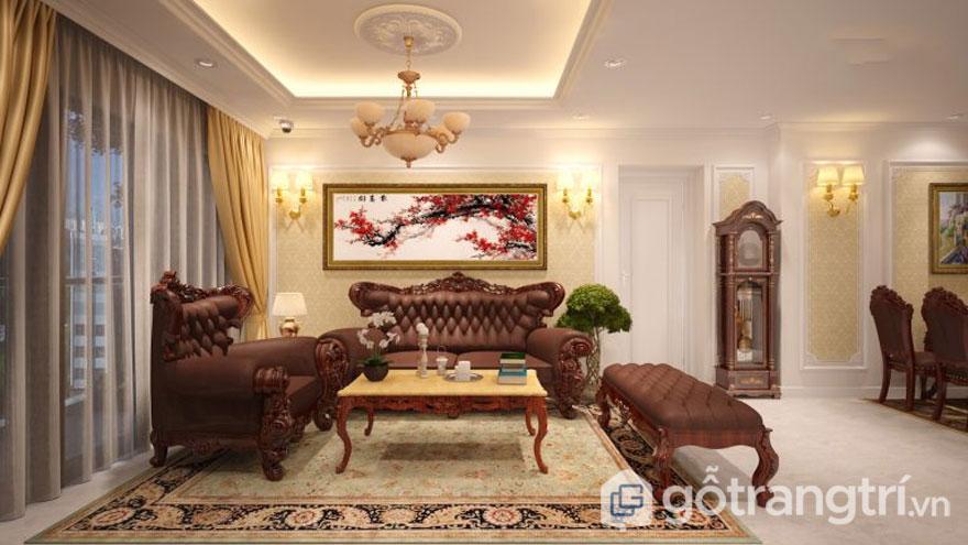 Sofa được bọc da và làm từ gỗ cao cấp và sang trọng (Ảnh: Internet)