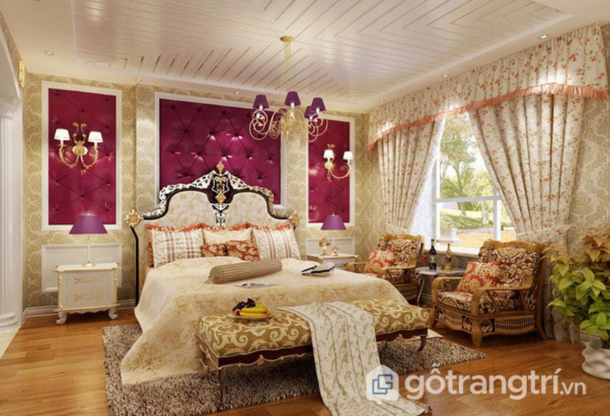 Phòng ngủ tân cổ điển được bài trí nội thất nhập khẩu theo phong cách quý tộc (Ảnh: Internet)